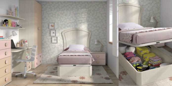 Dormitorio juvenil con canapé abatible