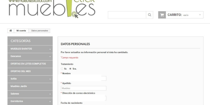Cómo realizar un pedido en muebles1click: datos personales